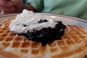 Breakfast waffles with blueberries
