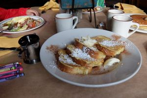 French toast and syrup american breakfast