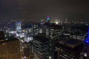 Skyline notturna di Tokyo