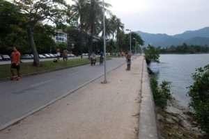 Pista ciclabile sulla Lagoa de Freitas