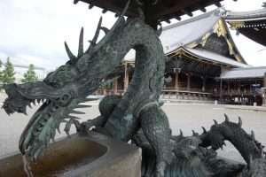 Drago della fontana di un tempio a Kyoto