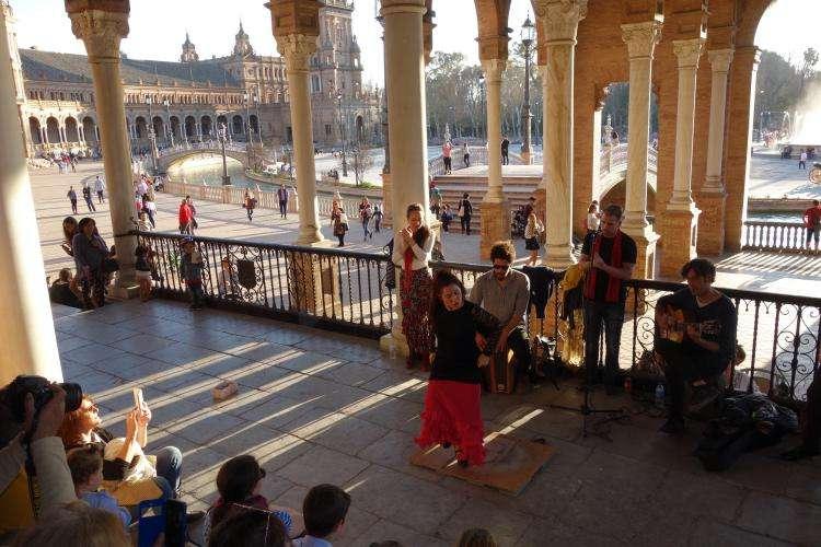 Siviglia Plaza de Espana spettacolo flamenco